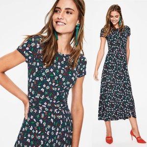 Boden Alda Jersey Midi Dress Size 16 Navy Blossom